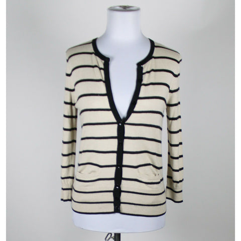 ANN TAYLOR black cream striped rayon 3/4 sleeve cardigan sweater S-Newish