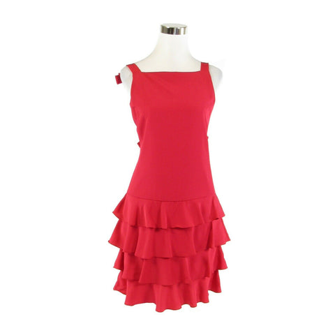 Red MARTIN ROSS bow detail vintage tiered dress 4