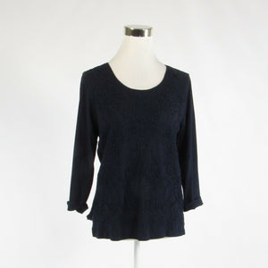 Navy blue cotton blend CHICO'S embroidered stretch 3/4 sleeve knit blouse 0 XS 4-Newish