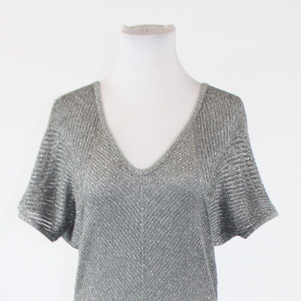 Gray silver shimmery EXPRESS short sleeve scoop neck crochet knit sweater PS