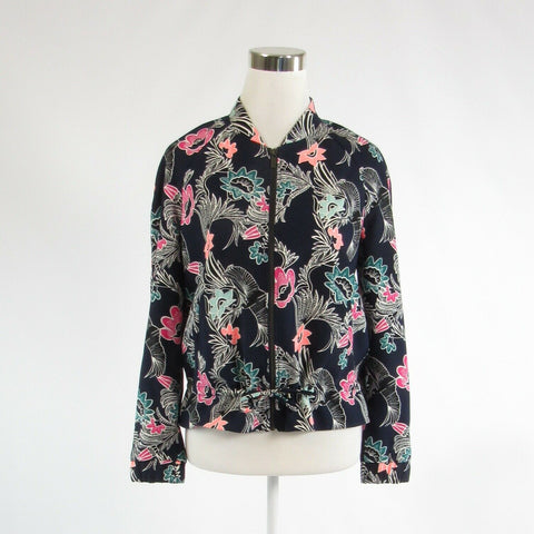 Navy blue white floral print BANANA REPUBLIC long sleeve jacket XS NWT $148.00-Newish