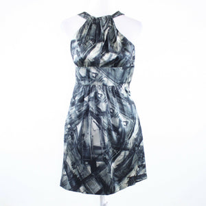 Black white abstract print 100% silk MARTIN and OSA sleeveless A-line dress 0-Newish