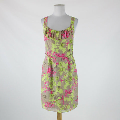 Khaki beige lime dark pink floral abstract BANANA REPUBLIC knee-length dress 6P