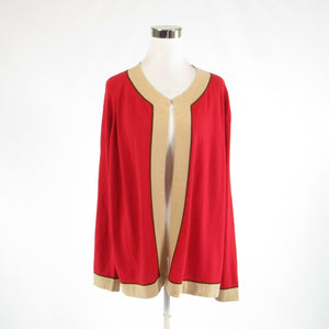 Red beige wool blend GIANFRANCO FERRE long sleeve cardigan sweater XL