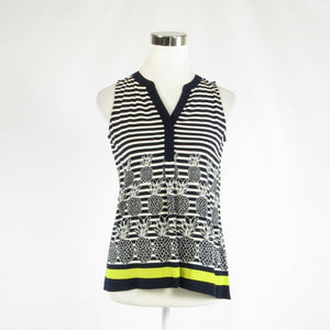 Black white uneven striped CROWN & IVY stretch sleeveless blouse PP-Newish