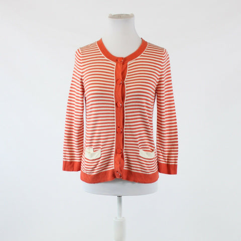 Dark orange ivory striped cotton blend TALBOTS 3/4 sleeve cardigan sweater S