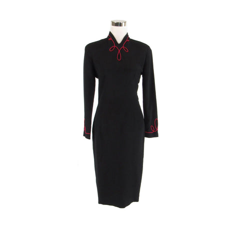 Black pink NICOLE MILLER long sleeve embroidered trim sheath dress 6-Newish