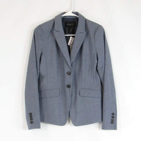 Slate blue ANN TAYLOR Factory stretch long sleeve blazer jacket 0 NWT