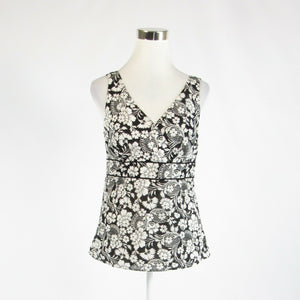 Black white floral print 100% cotton ANN TAYLOR LOFT sleeveless blouse 4-Newish