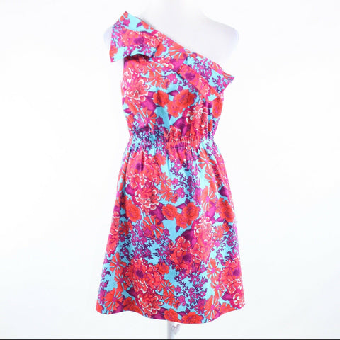 Turquoise blue orange floral print ELLEN and OLLIE one shoulder dress 6-Newish