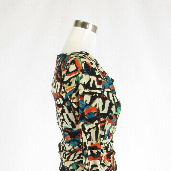 Multicolor geometric TAHARI Arthur S. Levine stretch 3/4 sleeve sheath dress 2-Newish