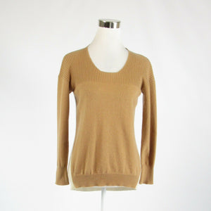 Khaki beige color block CENTRAL PARK WEST LUXE scoop neck sweater S-Newish