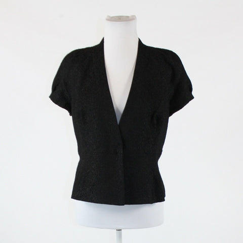 Black textured KAY UNGER cap sleeve button front jacket 6
