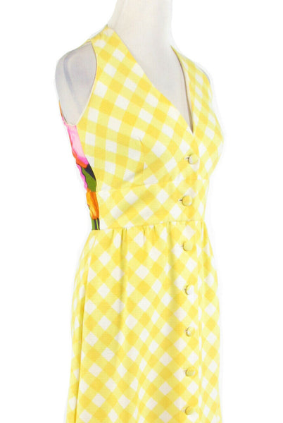 Yellow gingham ELFRIEDE FOR TWIGGS cotton sleeveless vintage maxi dress 8-Newish