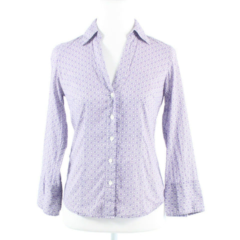 Lavender purple white geometric 100% cotton ANN TAYLOR button down blouse 0