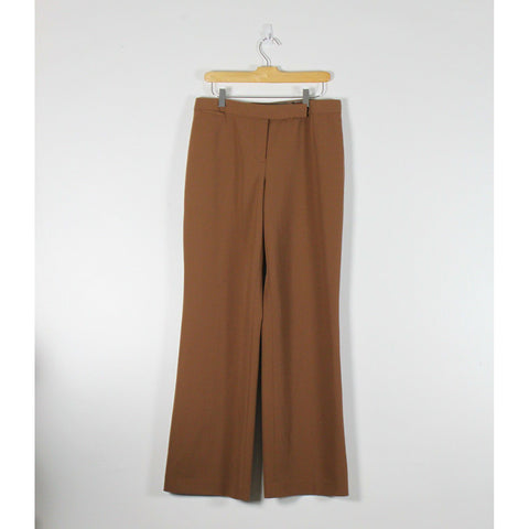MADISON STUDIO warm brown flat front stretch flare dress pants 10-Newish