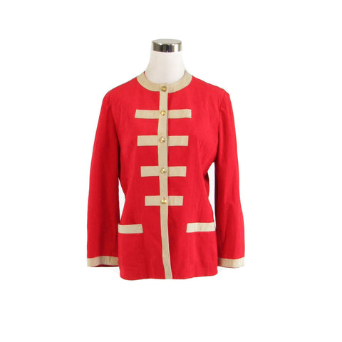 Red beige ULTRASUEDE military style vintage jacket 10 L