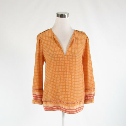 Goldenrod yellow red geometric 100% silk JOIE long sleeve blouse XS