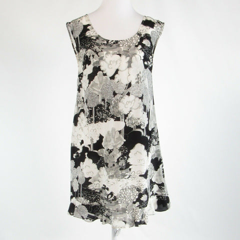 Black white floral print satin ANTHROPOLOGIE MOULINETTE SOEURS shift dress 4