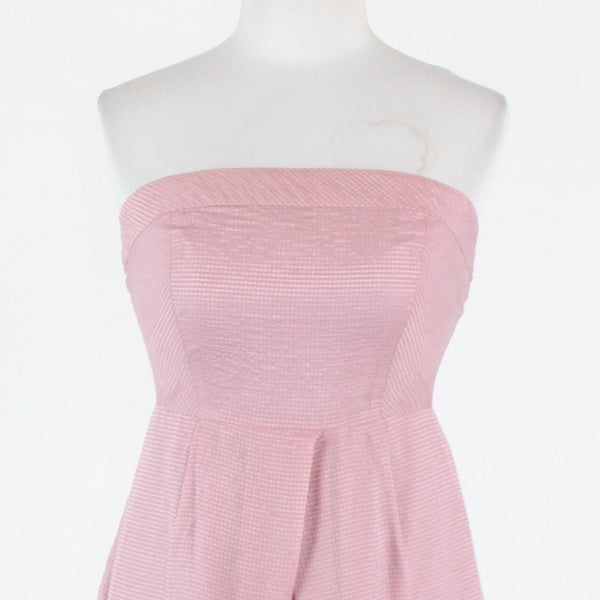 Purple textured silk blend J. CREW empire waist strapless knee-length dress 2-Newish