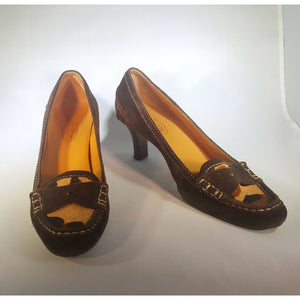 Brown suede leather TALBOTS leopard print toe heeled loafer high heel 8 B