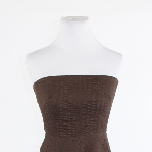 Brown seersucker 100% cotton J. CREW strapless A-line dress 2
