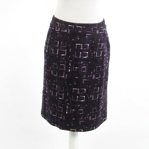 Dark purple geometric 100% cotton MILLY pencil skirt 8-Newish