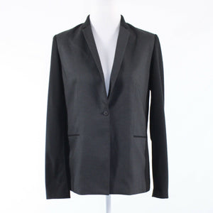Gray black color block TAHARI long sleeve blazer jacket 8