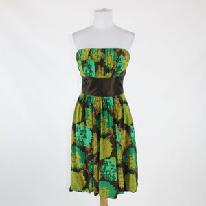 Brown green yellow PLENTY BY TRACY REESE bubble hem strapless dress S