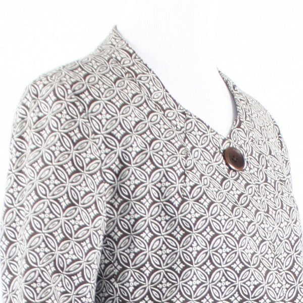 Brown white geometric cotton blend TALBOTS 3/4 sleeve jacket 10-Newish