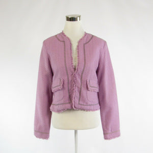 Lavender purple TRUE MEANING open front long sleeve jacket M