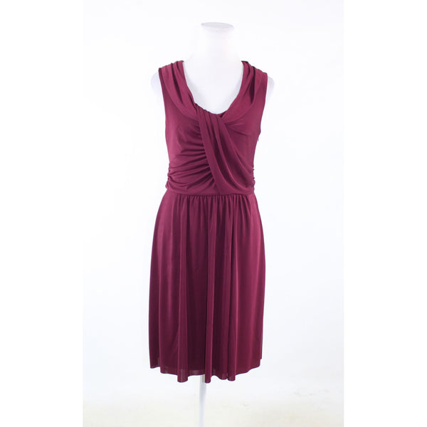 Maroon red stretch ANN TAYLOR sleeveless blouson dress 8