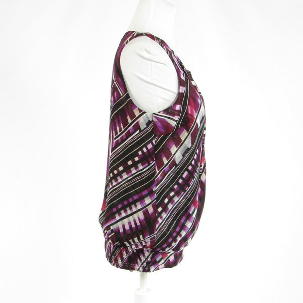 Purple black geometric WHITE HOUSE BLACK MARKET stretch sleeveless blouse S-Newish