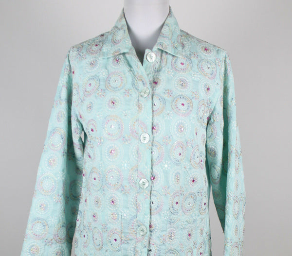 PARSLEY & SAGE blue white pink embroidered long sleeve rhinestoned jacket S-Newish