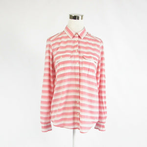 Pink white striped 100% cotton EXPRESS 3/4 sleeve button down blouse M-Newish