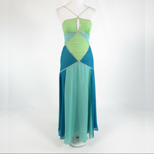 Light blue green color block 100% silk BCBG MAX AZRIA A-line dress 0