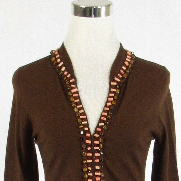 Brown ECCOCI beaded 3/4 sleeve cardigan sweater S-Newish