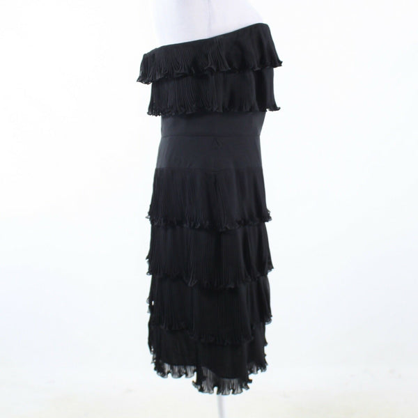 Black 100% silk KAY UNGER strapless tiered dress 10 NWT