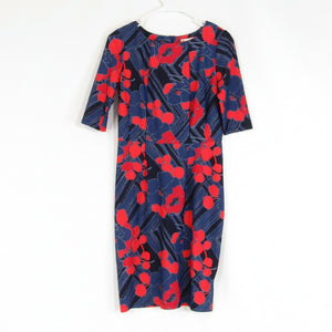 Slate blue red floral print JUDE CONNALLY stretch 1/2 sleeve sheath dress S