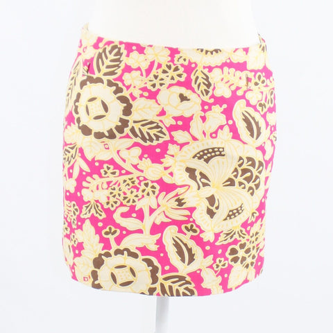 Bright pink yellow floral print 100% cotton J. CREW mini skirt 0