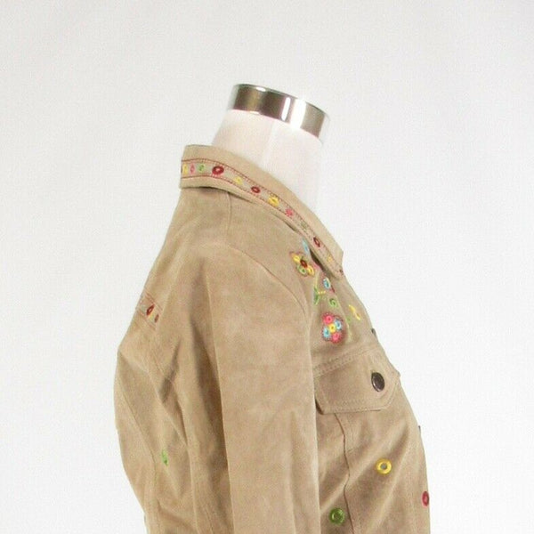 Taupe pink suede CHICO'S embroidered trim sequin long sleeve jacket 0 XS 4-Newish