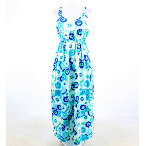 Turquoise blue purple white floral print cotton blend ELLEN and OLLIE maxi dress 6