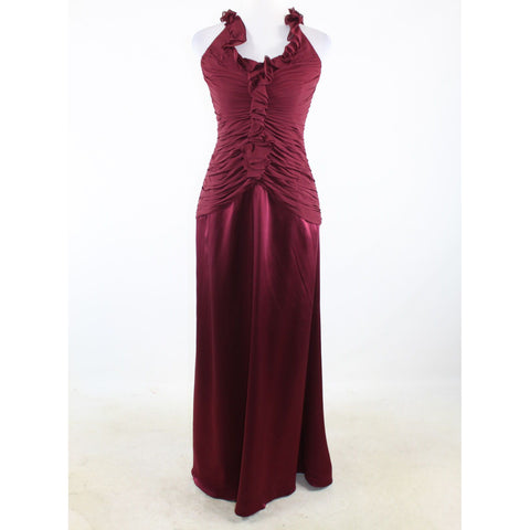 Maroon red satin KAY UNGER halter neck ball gown dress 10-Newish