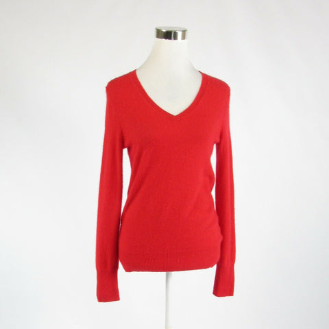 Red 100% cashmere HALOGEN long sleeve V-neck sweater S-Newish