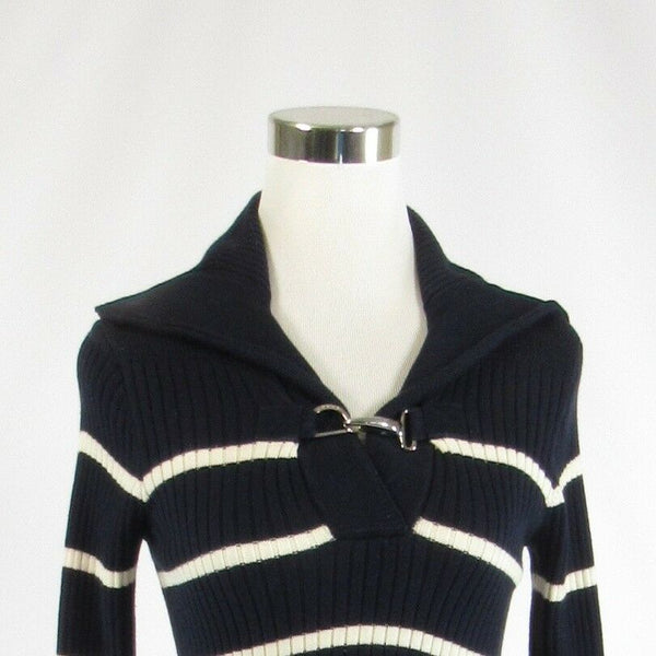 Navy blue white striped 100% cotton LAUREN RALPH LAUREN collared sweater XS-Newish