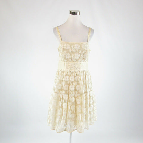 Light beige ivory lace LIL spaghetti strap sun dress 12
