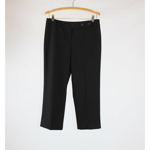 Black stretch cuffed hem ANN TAYLOR LOFT extended tab cropped pants 4