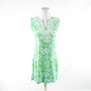 Turquoise blue green floral print cotton blend BARBARA GERWIT sun dress S