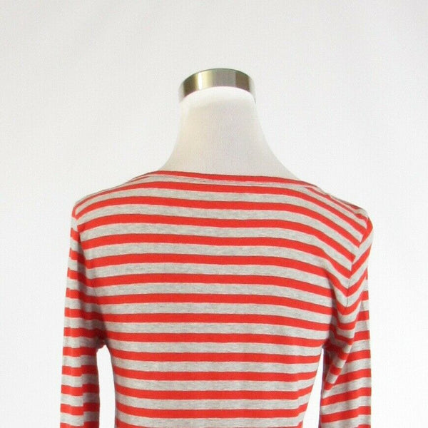 Heather gray orange striped 100% cotton J. CREW long sleeve knit blouse M