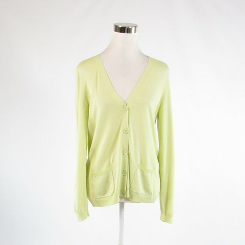 Light green cotton blend TALBOTS long sleeve cardigan sweater M